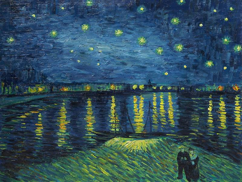 Reproduction of Van Gogh The Starry Night Over The Rhone