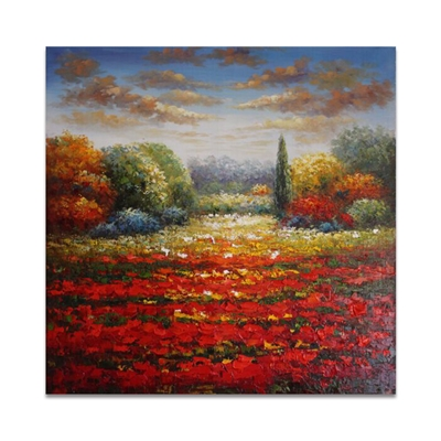 Red Flower Landscape Oil Paintings