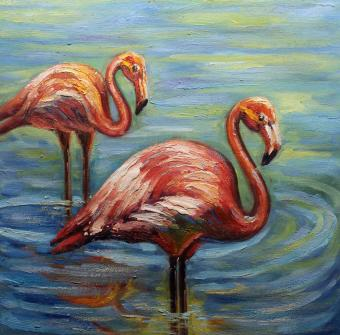 Hand Painted Flamingo Oil Painting