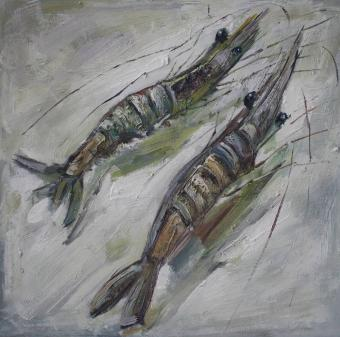 Hand Painted Two Shrimps Oil Paintings
